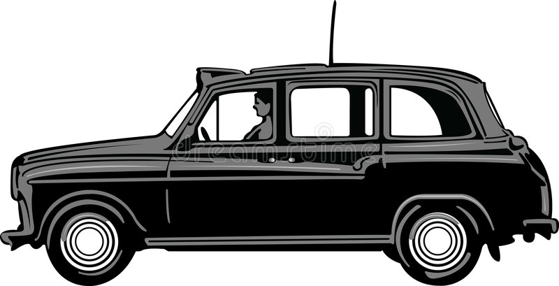 Black Cab. A typical London back cab stock illustration