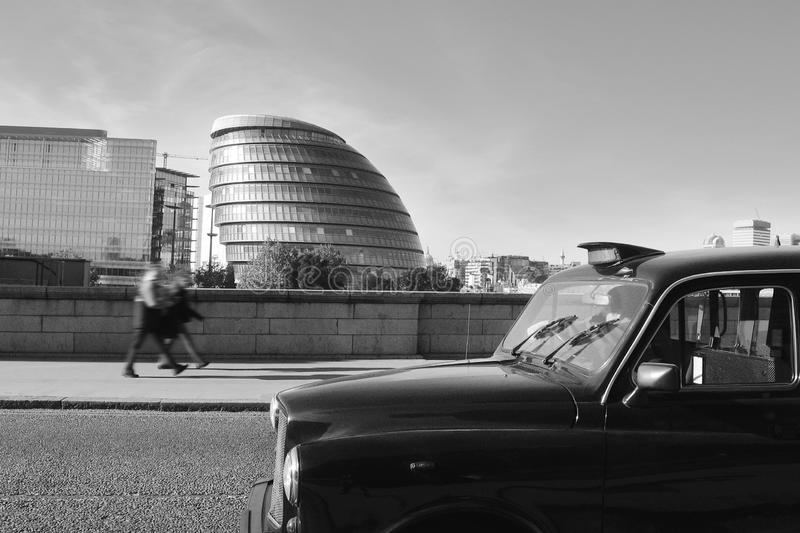 Black cab in traffic jam stock photography