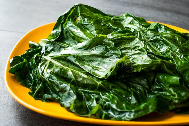 Black Cabbage Leaves / Organic Green Lacinato Kale on Yellow Plate with Grey Granit Surface. Organic Food stock photos