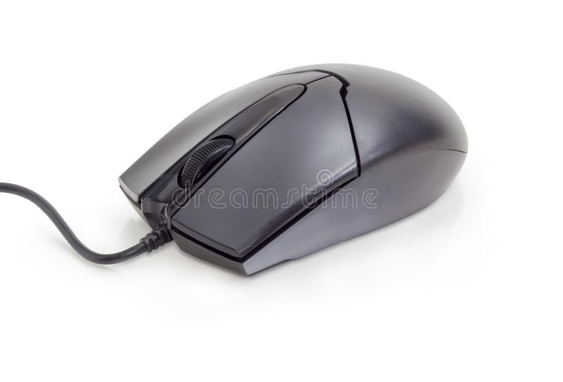 Black cabled computer mouse with two buttons and scroll wheel. Modern black typical cabled optical computer mouse with two buttons and a scroll wheel on a white royalty free stock images