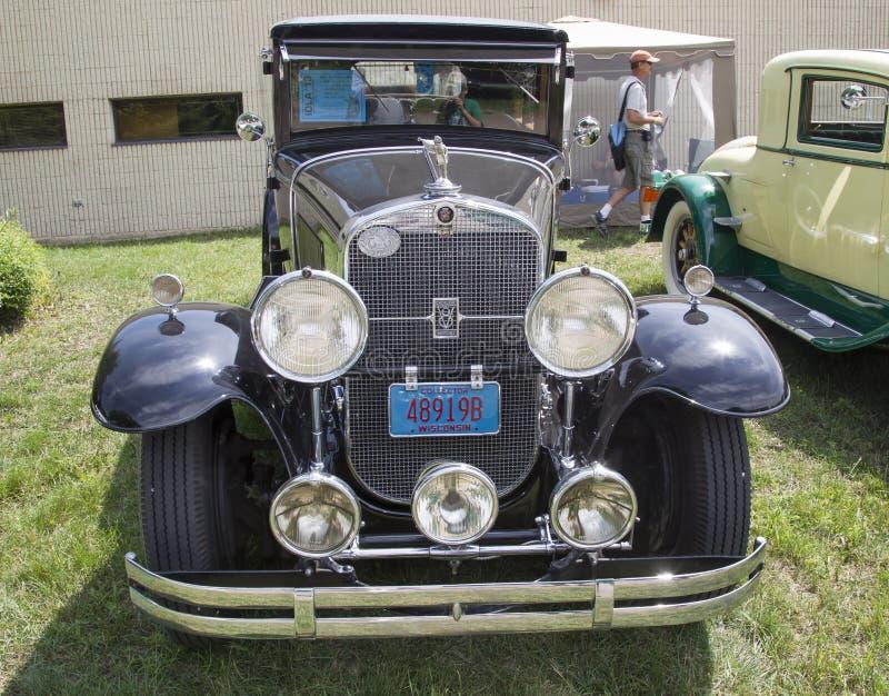 1929 Black Cadillac Front View royalty free stock image