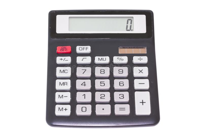 Black calculator isolated on white background, top view royalty free stock image