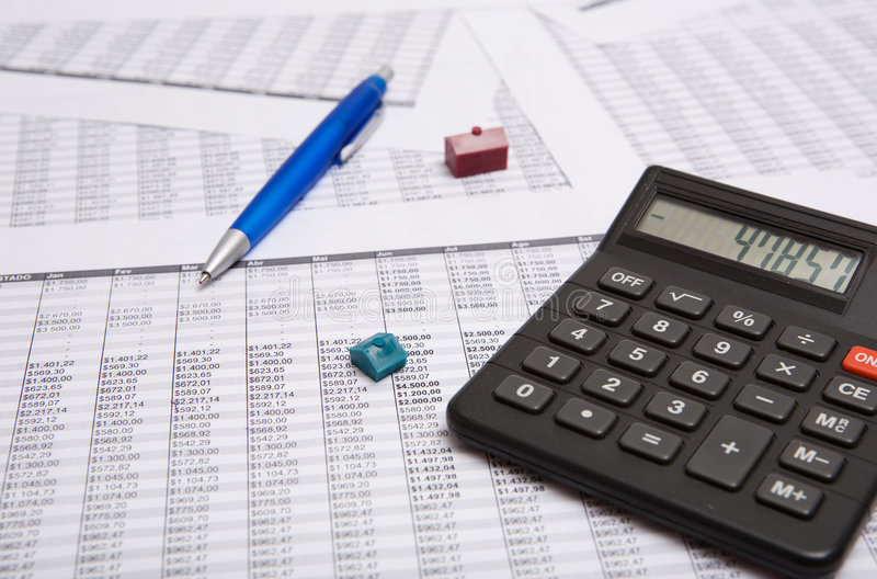 Download Black Calculator, Pen, Small House Stock Image - Image: 6037801