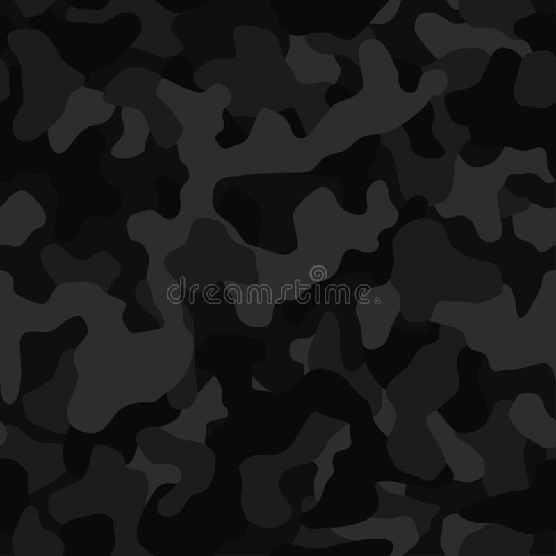 Free Black Camouflage Seamless Pattern, Vector Background. Splashes Masking Camo Repeat Print. Stock Photo - 187047190