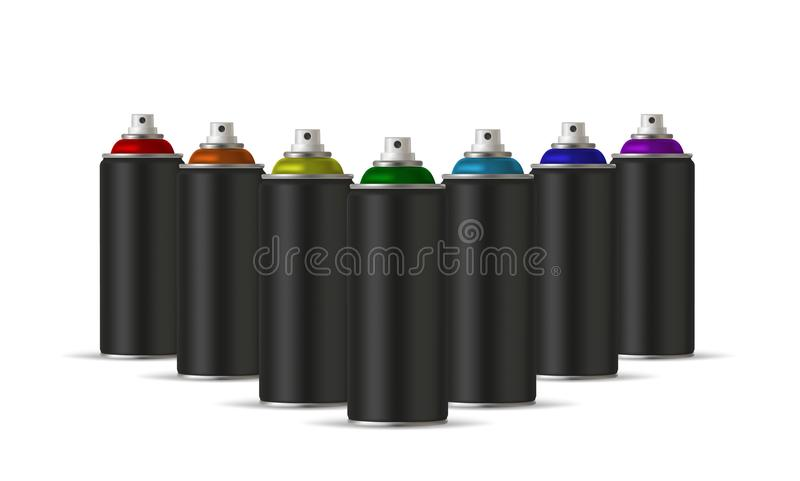 Black cans of spray paint in various colors. Colors of Rainbow. Vector illustration stock illustration