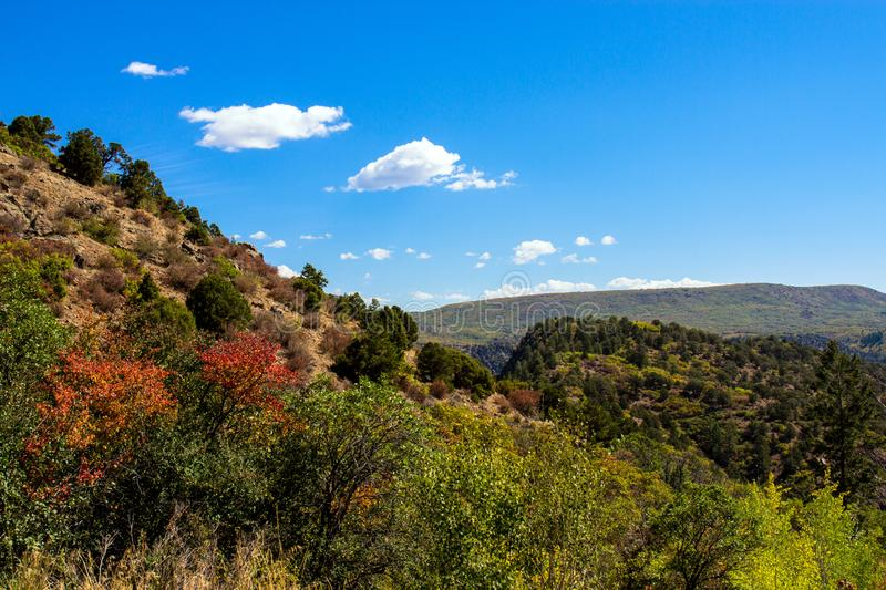 Autumn colors and blue skies at Black Canyon of the Gunnison National Park royalty free stock photos