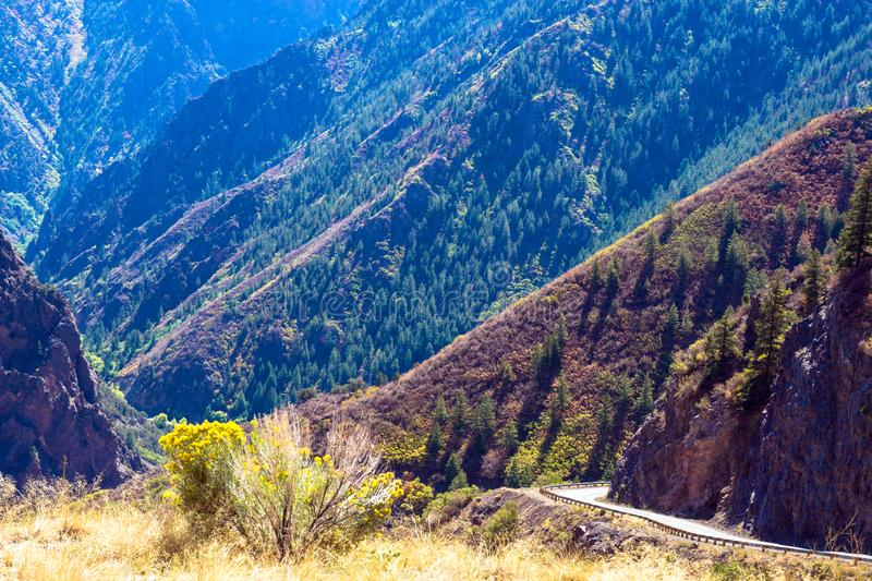 East Portal Road cuts down to the river in Black Canyon of the Gunnison National Park royalty free stock photos
