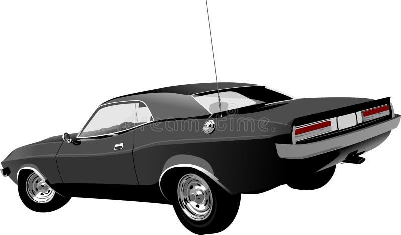 Black car. Black classic car on white background royalty free illustration