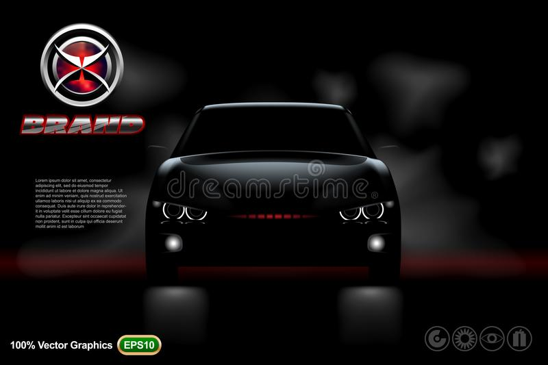 Black car on black background with logo and description. Mock up is ready to be converted to your business needs. Realistic imag stock photos