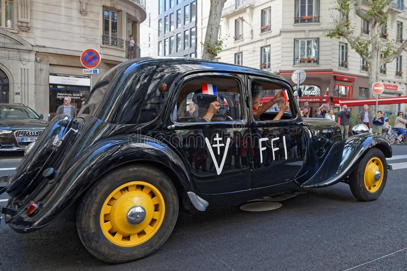 Black car of Free France Army during the 75th anniversary of Liberation of Lyon royalty free stock photo