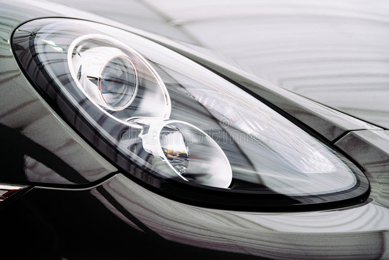 Black Car Front Headlight royalty free stock image