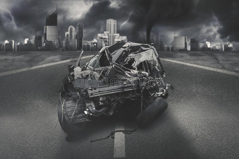 Black car getting accident on the road. Image of black car getting accident on the road after collision stock photo