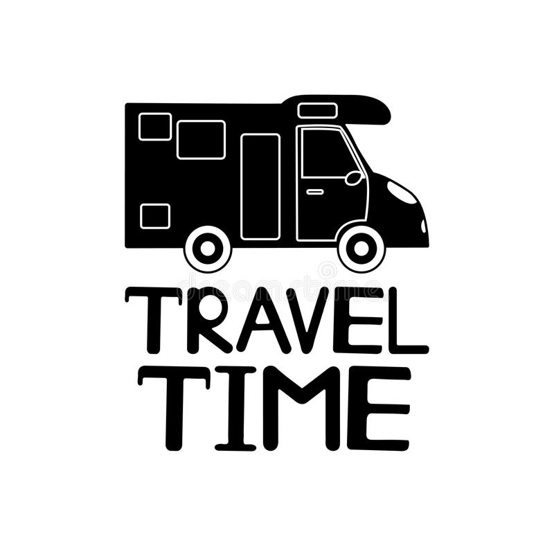 Black car icon and phrase Travel time on the white background. royalty free illustration
