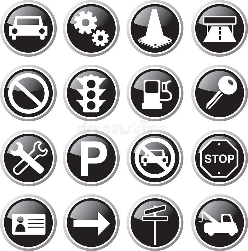 Black car icon set. Black car and road icon set stock illustration