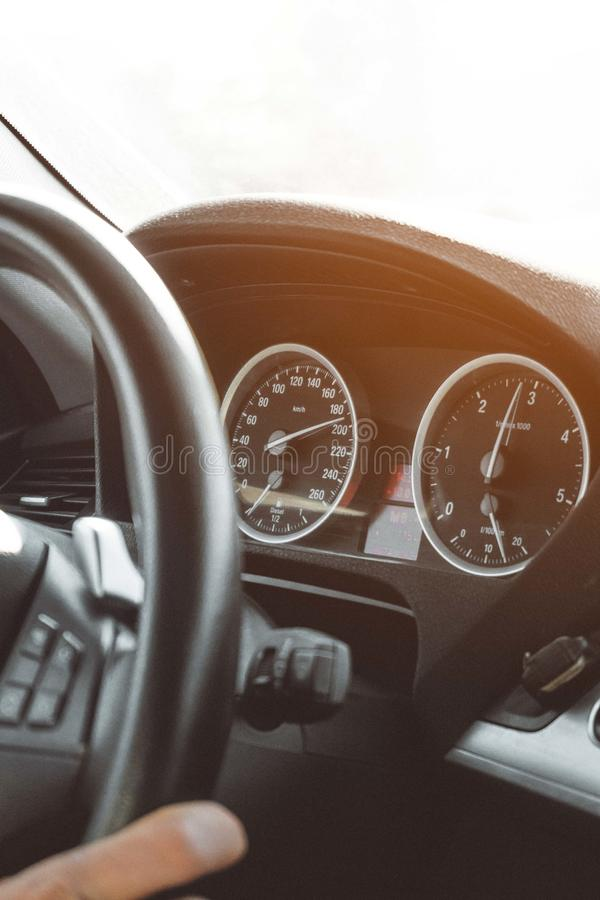 Black Car Instrument Cluster Panel stock photography