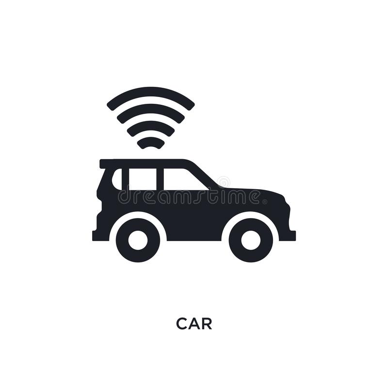 black car isolated vector icon. simple element illustration from artificial intelligence concept vector icons. car editable black stock illustration