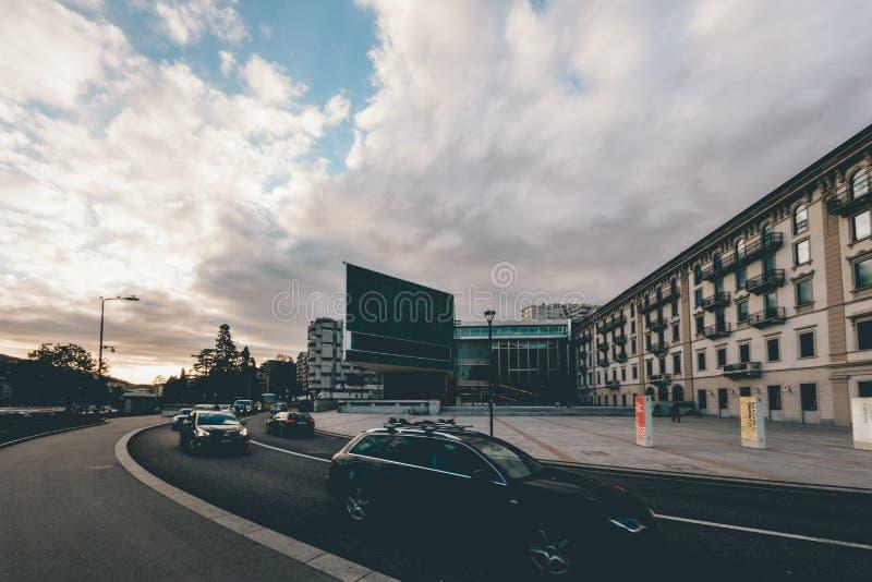 Black Car Near Concrete Building stock images