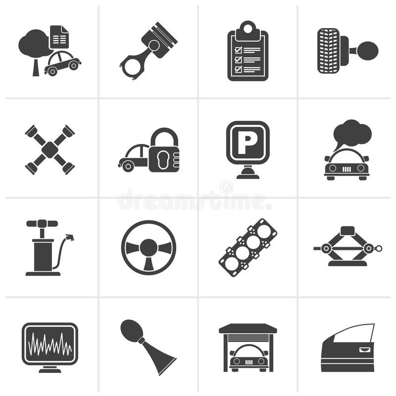 Black Car parts and services icons vector illustration