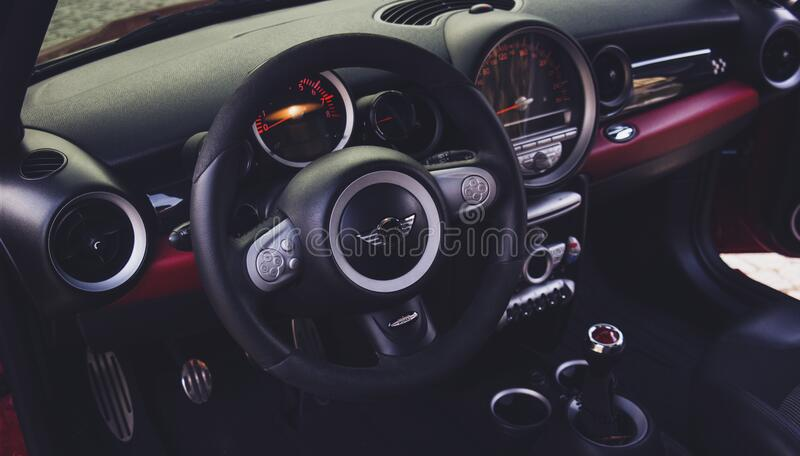 Black Car Steering Wheel stock photography