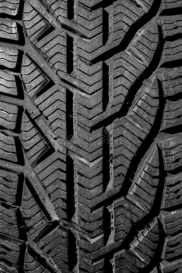 Black car tire surface texture in good condition royalty free stock image