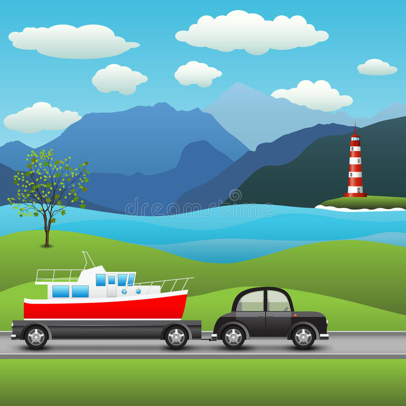 Black car with a trailer and boat vector illustration