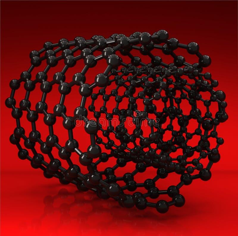 Black carbon nanotubes on red background royalty free illustration