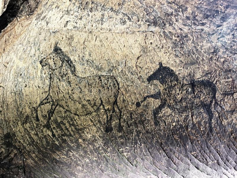 Black carbon paint of deer on sandstone wall, prehistoric picture. Abstract children art in sandstone cave. Black carbon paint of horses on sandstone wall, copy royalty free stock image