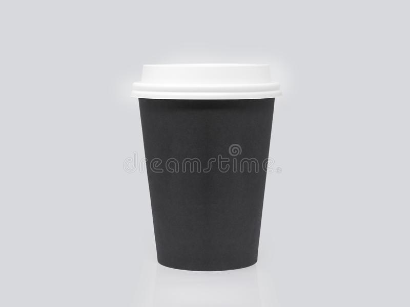 Black cardboard cup isolated on a white background royalty free stock photography