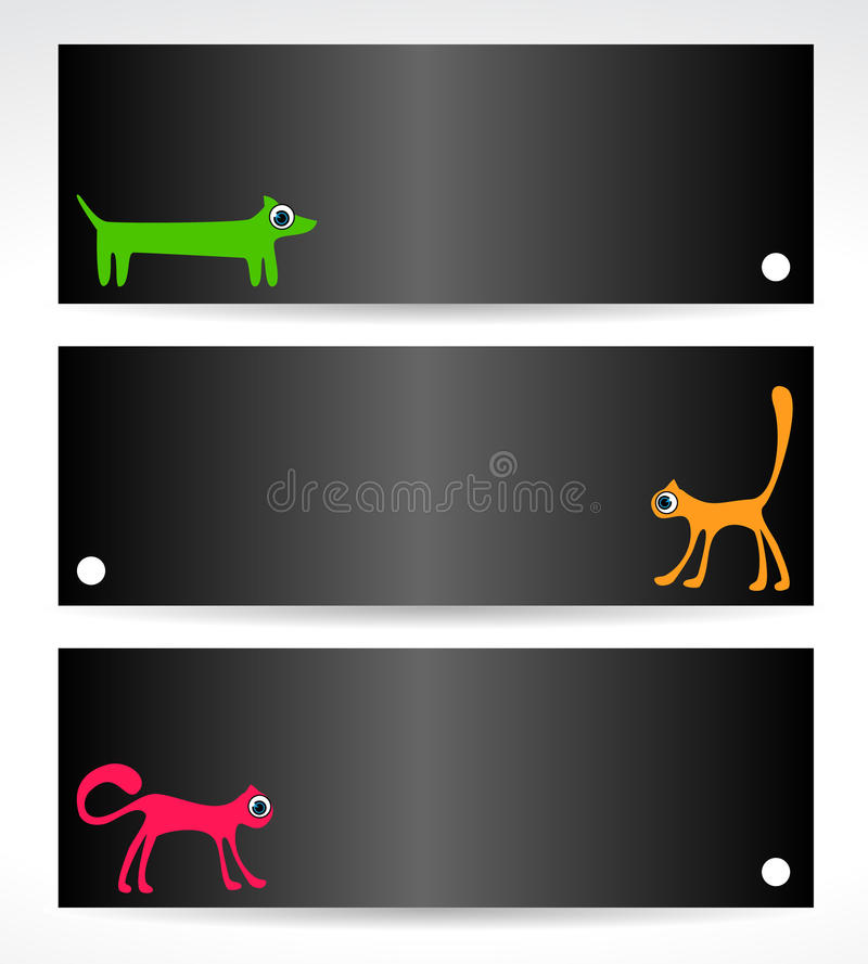 Black  cards with cats and dog