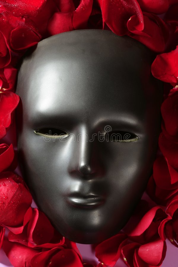 Black carnival mask with red rose petals. Around royalty free stock photos
