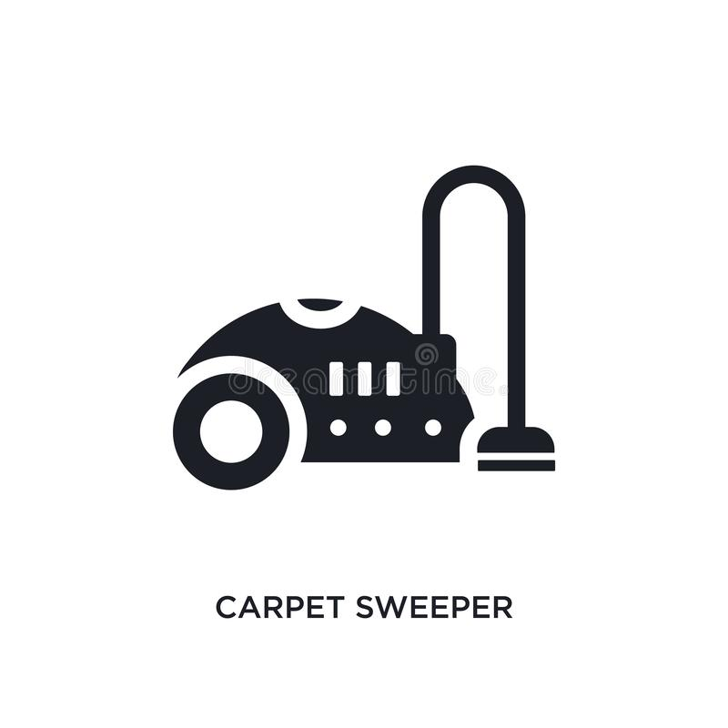 black carpet sweeper isolated vector icon. simple element illustration from furniture and household concept vector icons. carpet royalty free illustration