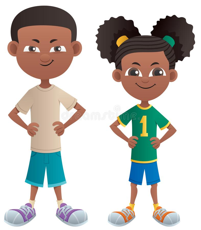 Boy and Girl Black. Black cartoon boy and girl posing standing stock illustration