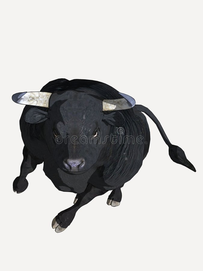 Black Cartoon Bull royalty free stock photography