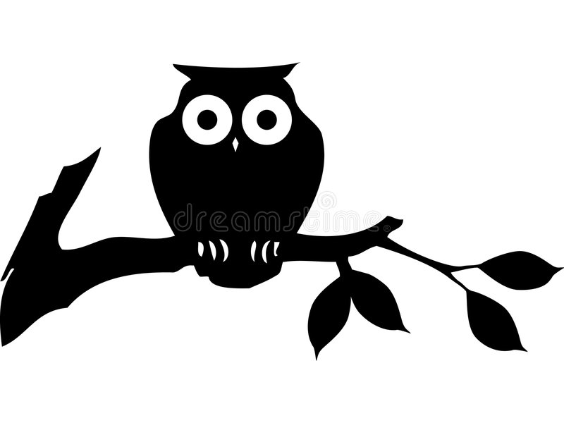 Black cartoon owl vector illustration