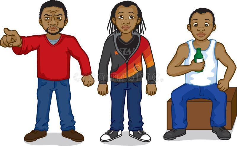 Black cartoon people vector illustration