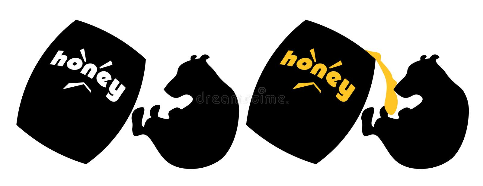 Black cartoon silhouettes of a bear and a barrel of honey falling on it royalty free illustration