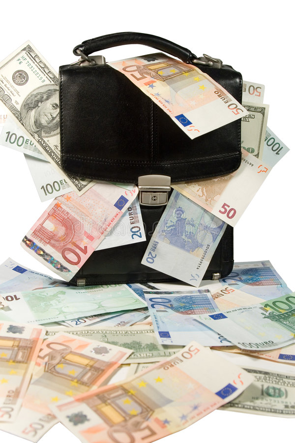 Black case with euros and dollars