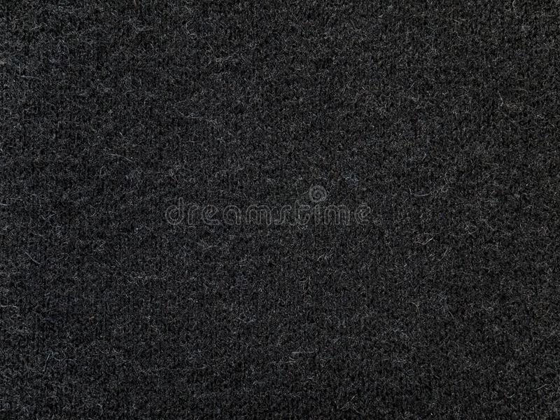 Black cashmere wool knitwear fabric texture. Black cashmere wool sweater knitted fabric texture stock image