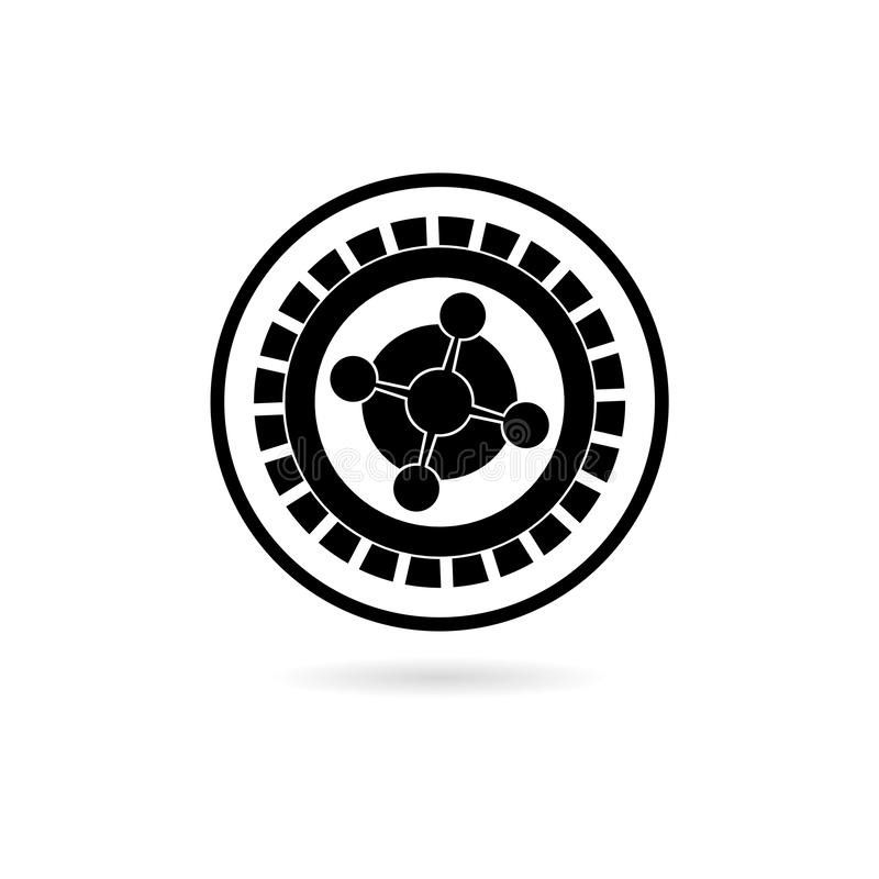 Black Casino roulette wheel flat icon or logo stock illustration