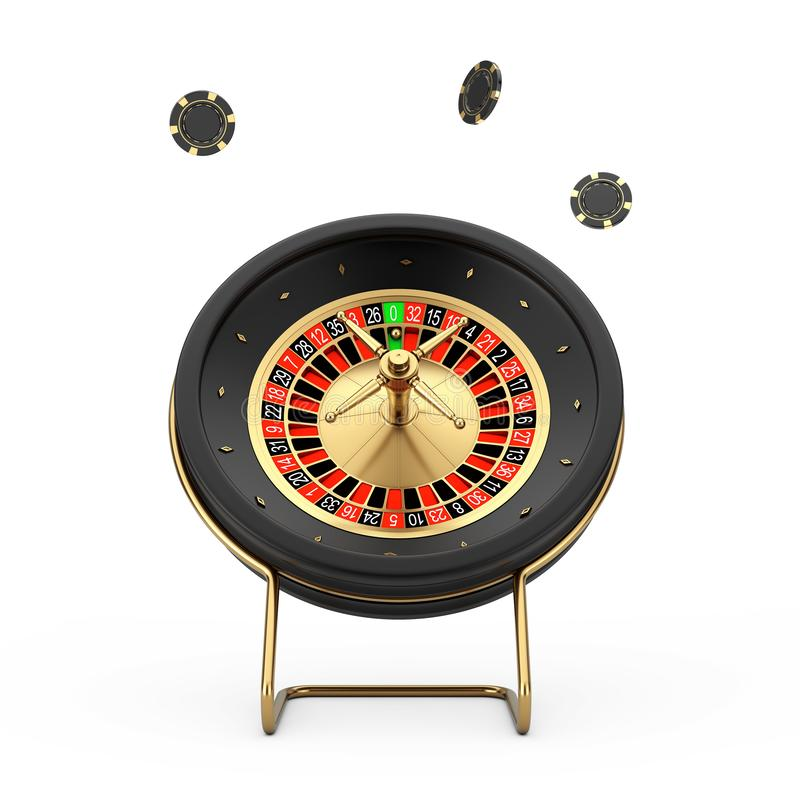 Black Casino Roulette Wheel with Poker Casino Chips. 3d Rendering stock illustration