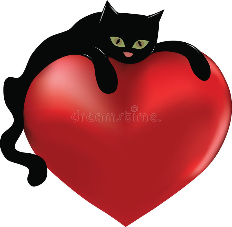 Black cat. Hugging a big heart stock illustration