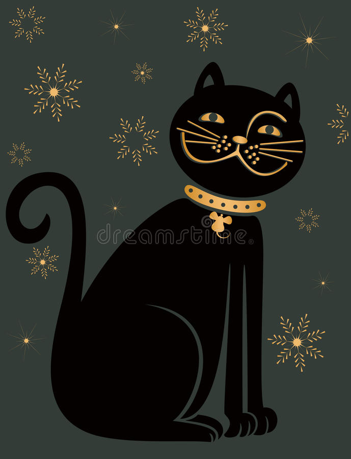 Black cat. On the dark grey background with gold snowflakes - vector illustration