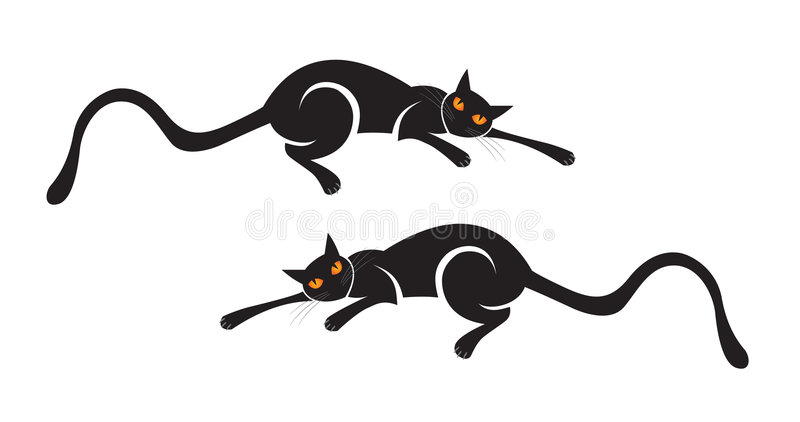 Download Black Cat stock vector. Image of full, creepy, illustrated - 6456012