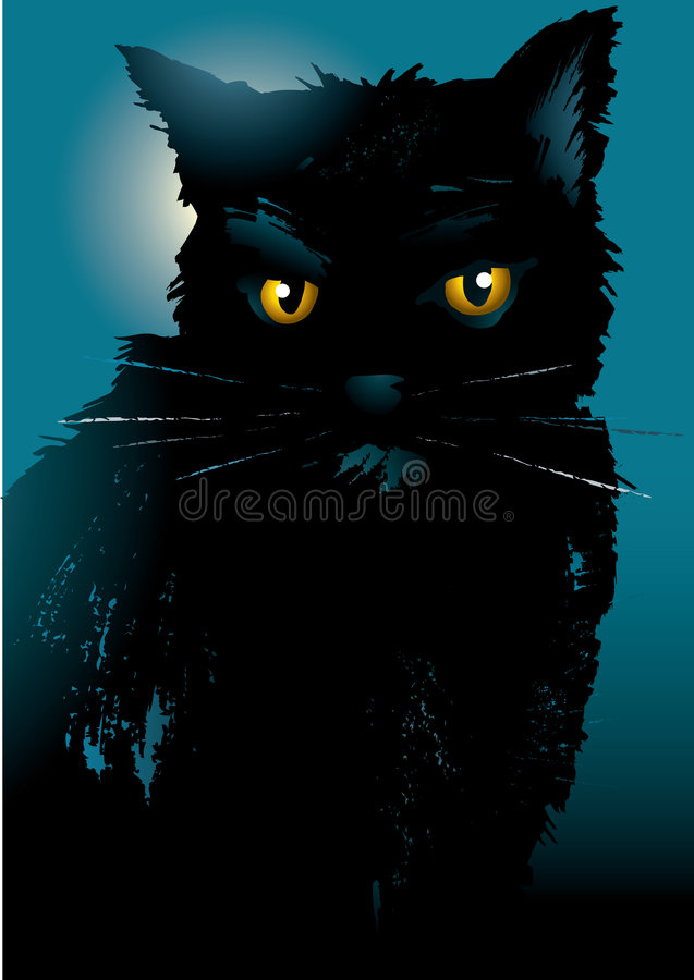 Download Black cat stock vector. Image of outline, silhouette, ornate - 9016958