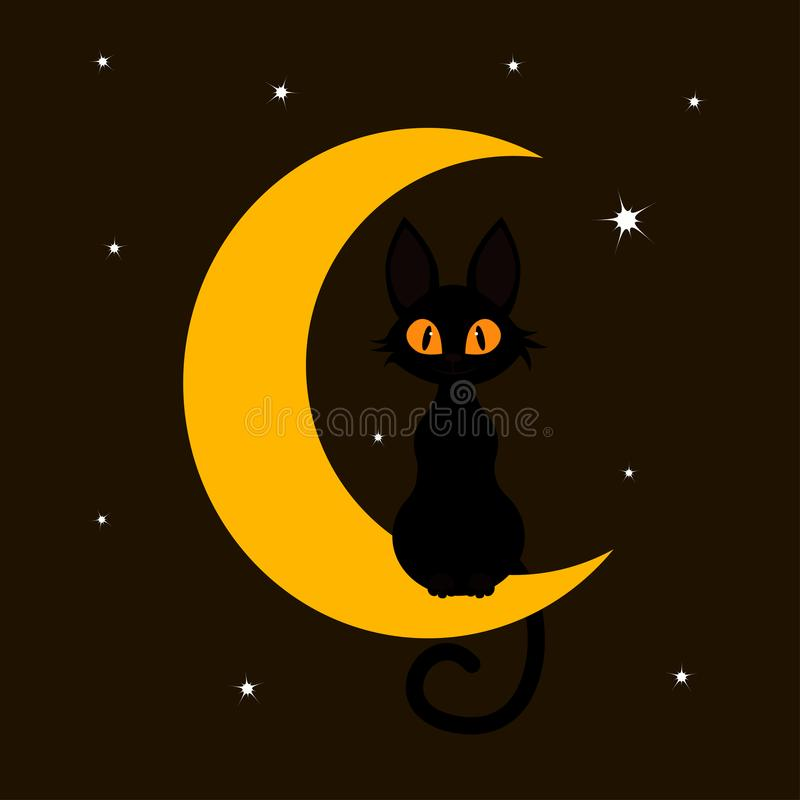 Free Black Cat And Moon Stock Image - 124977121
