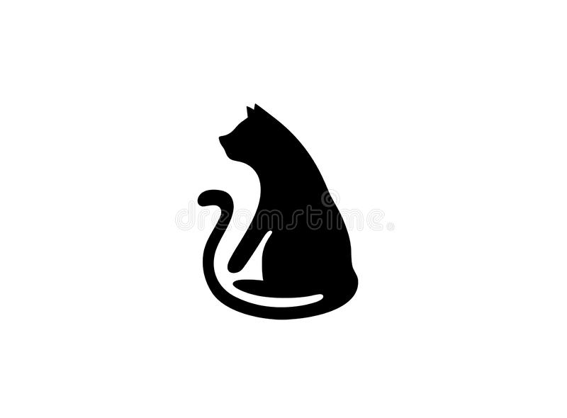 Black cat with big tail for logo design stock illustration