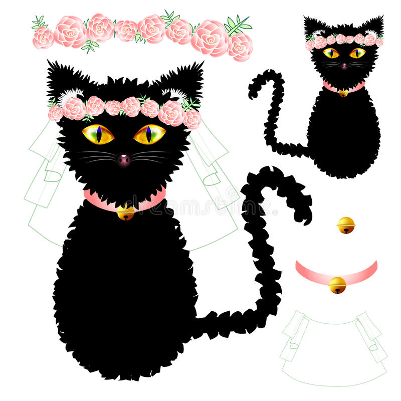 Black Cat Bride with Yellow Eyes, Crown Pink Rose Flower, Golden Ball Collar. Valentine Day. Vector Illustration vector illustration