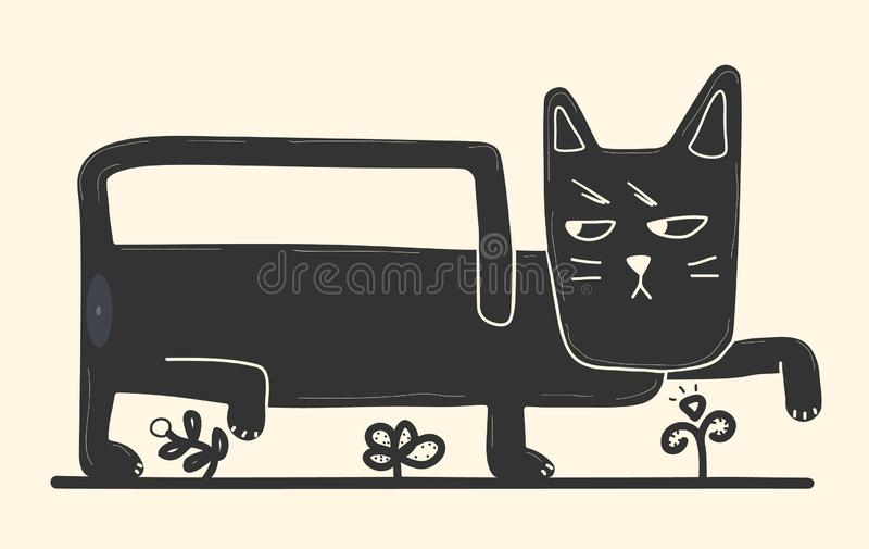 Black cat in cartoon style walks among the flowers royalty free stock image