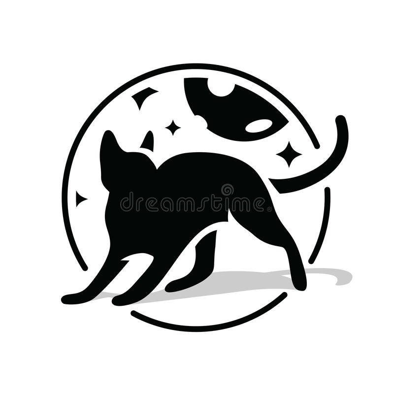 Black cat in circle at night sky, stars and moon. Silhouette black cat on white background, idea for company style and vector illustration