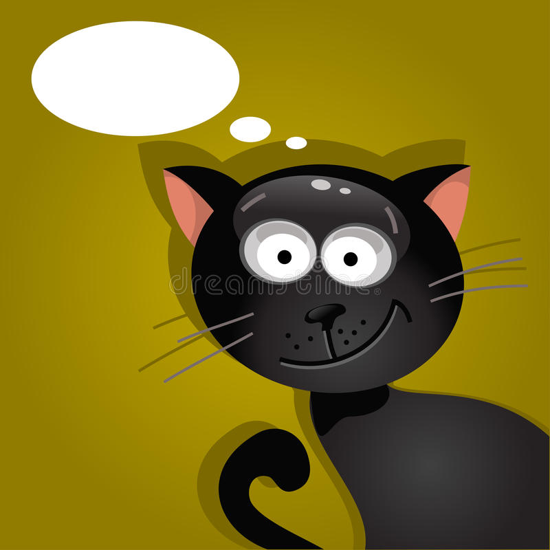 Black cat with a cloud of thoughts. Vector illustration vector illustration
